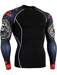 OEAK T-Shirt Homme Sport Manches Longue Col Rond Course à Pied Slim Compression Moulant