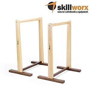 skillworx Dipstation: Dip Barren aus FSC-Holz für Calisthenics und Turntraining