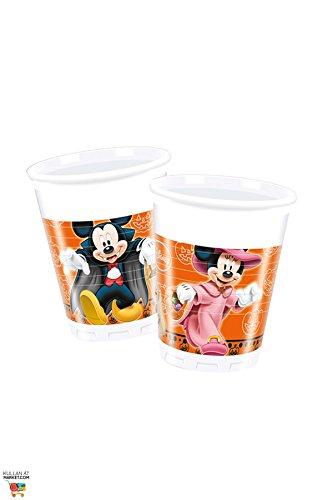(Ciao Procos 82355–Becher Kunststoff Mickey Halloween, 200ml, 8Stück, Orange/Schwarz)