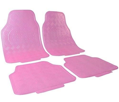 WOLTU Universal Auto Fußmatten Matten 4-teilig ALU Look Chorm Optik Riffelblech Rosa Matt AM7170rs