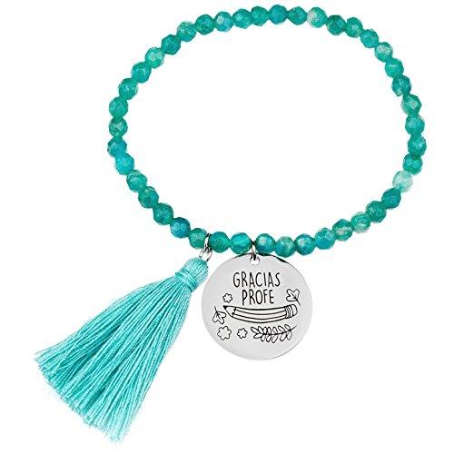 dd50fa3c0120 Teresa Barrio Belle Bracelet pour profesoras grâce profe de boules  facetadas gemme verte avec médaille argent 1ºley (925 Milésimas) avec  message ...