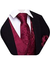 Barry.Wang - Chaleco para hombre, diseño de cachemira, con corbata de bolsillo y gemelos cuadrados
