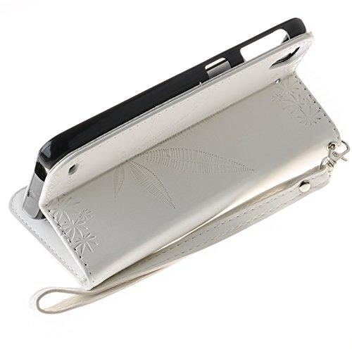 YHUISEN Geprägte Maple Leaf Design PU-Leder Flip Wallet Stand Case mit Kartensteckplatz für HTC Desire 530 ( Color : Rose ) White