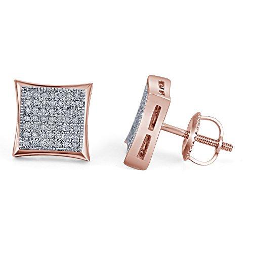 lilu Jewels véritable diamant blanc Boucles d'oreilles clous Kite Princesse Forme serti à vis arrière en argent sterling 925 14k Rose Gold Plated