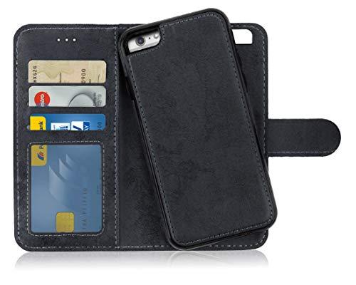 Flip Cover Case (MyGadget Flip Case mit Back Cover [2 in 1] Hülle für Apple iPhone 6+ 6s Plus - Magnetische PU Leder Klapphülle Kartenfach Schutzhülle Wallet - Schwarz)