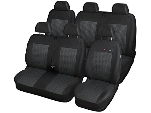 Volkswagen T6 coprisedili su Misura per Auto, Perfetta vestibilità, coprisedili in Velour + Imbottitura in Maglia.