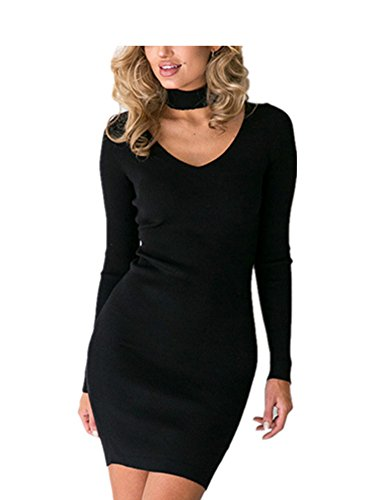 Sexy Robe Crayon Manches Longues Col V Mi Longue Elastique Soiree Femme Koobea Noir