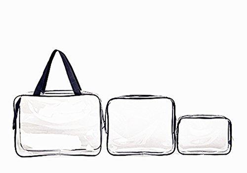 Vi.yo Sac Cosmétique étanche Voyage Transparent Trousses Beaute Cosmetiques Maquillage Rangement(Blanc) X 3PCS