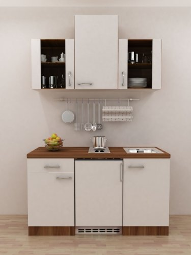 Büro küche 150 cm weiss mit geräten und glashänger como