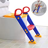 Techtest Toilet Potty Stand Foldable Seat with Ladder for Kids, Potty Training Seat