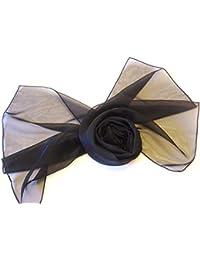 Lovely Soft Feel Long Plain Chiffon Scarves Wrap Stole Neck tie Choir Scarves (Black)