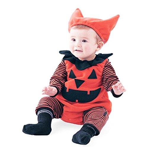 Kostüme Kleinkinder 2017 Halloween Für (HKFV Halloween Kostüme Baby Kürbis Stück Anzug + Hut 3 Sets Striped Kürbis Spielanzug Halloween Outfits Kostüm Lange Ärmel (90,)