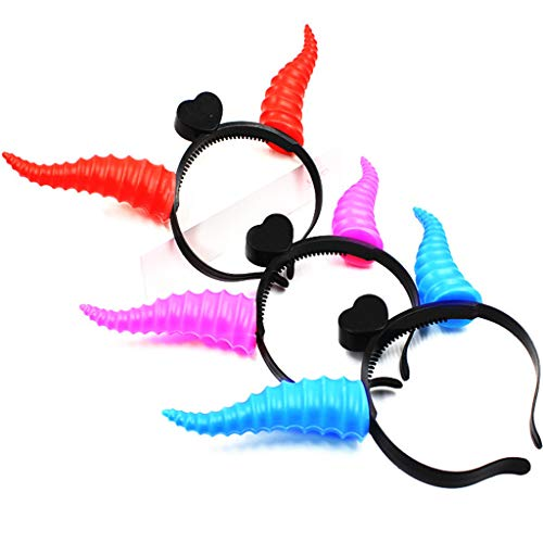 Cuigu Weihnachten Geweih Haarband, LED Leuchten Blinkende Stirnband Glowing Crown Hairband Haarschmuck Neujahr Party Supplies Party Ornament, Unisex, Zufällige Farbe