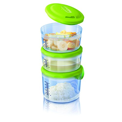 Storage-system (Chicco 00007658000000 Behälter für Babynahrung System 6m plus, mit Flexiblem Zum Verbinden und Kombinieren Der Behältnisse, mehrfarbig)
