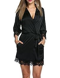 BeautyUU Damen Morgenmantel Bademantel Satin Sexy Kimono mit Taschen Kurz Robe mit Gürtel Nachthemd für Braut Nachtwäsche Mit Blumenspitze