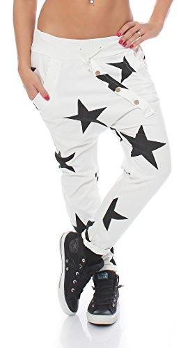 zarmexx Mujer Pantalón Chándal NOVIO Holgado Con Tira Botones Pantalones para Jogging Tiempo Libre Algodón Pantalones deportivos yogapants Jogger Loose Fit Big Star talla única