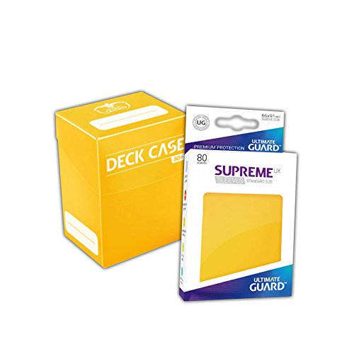 Ultimate Guard Deck Box + 80 Standard Size UX Supreme Sleeves - Gelb - Yellow - Magic & Pokémon Größe