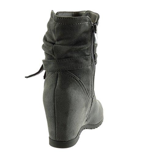 Angkorly - Chaussure Mode Bottine souple Femme noeud lanière Talon compensé 7 CM Gris