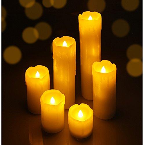 Flammenlose LED Kerzen, 6er Set, runde Söulenform mit Tropfnasen