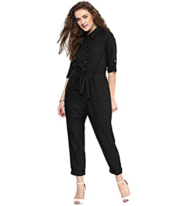 Uptownie Lite Women's Crepe Roll Up Jumpsuit (Black; XS)