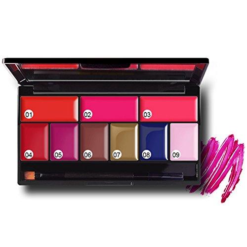 ROPALIA Palette Rouge à Lèvre Waterproof Hydratant 9 Couleurs avec Brosse Lèvre Eyeliner Kit (B1)