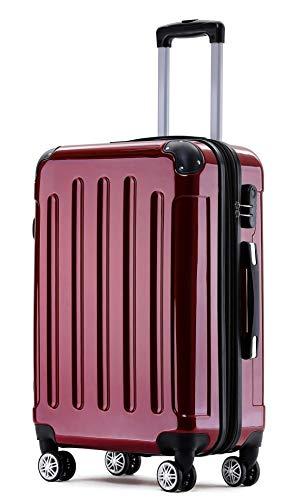 BEIBYE Zwillingsrollen 2048 Hartschale Trolley Koffer Reisekoffer Taschen Gepäck in M-L-XL-Set (Rot, L)