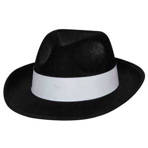 Felt Gangster Hut Outfit Accessoire für 20s 30s Kostüm schwarz weiß Band (Kostüm Gangster Ideen 1920s)