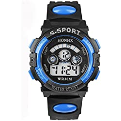 Kolylong Men Children Boy Father and son Waterproof Digital LED Quartz Alarm Date Sports Wrist Watch