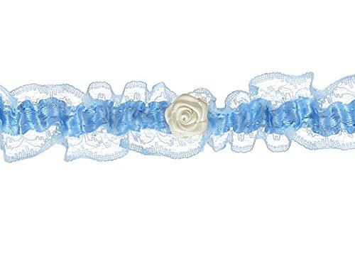LoBeSo Strumpfband Satin helles blau mit kleiner Rosenblüte in creme für die Braut Hochzeit