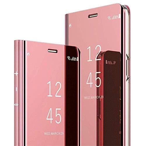 Uposao Kompatibel mit Samsung Galaxy M20 Hülle Überzug Spiegel Flip Hülle Mirror Make-Up Clear View Schutzhülle Handytasche Brieftasche Wallet Tasche Leder Hülle Booklet Case Cover,Rose Gold