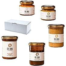 Dr. Chili Chili Geschenk-Set Grill Box Hot Chilli BBQ - Geschenkkorb aus Habanero Sauce Soße Senf Marinade Ketchup Paste - Scharfe Originelle Geschenk-Idee für Männer zum Vatertag Geburtstag