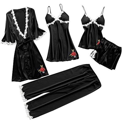 c775c759ed Resplend Pijamas De Gran TamañO para Mujer Pijamas CamisóN Conjunto De  Cinco Piezas Mujeres Ropa Interior