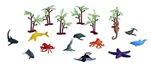 Wild Republic- Juego de Caza Animal Mundo de los Océanos, pequeño, Cubo Aventura Mini, 10 cm, 18 Piezas, (23152)