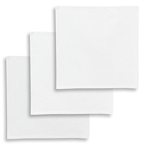 ziczac-affaires KRACHT, Spültuch, Poliertuch, Putztuch, 100% Baumwolle, 6 Farben, 4 Setvarianten, Edition, Format 30x30 cm (3er Set, Weiss)
