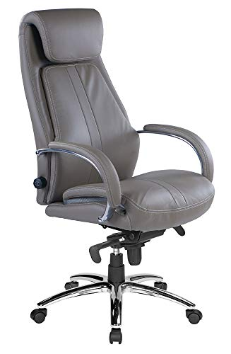 Kijng Chefsessel Throne - Grau Kunstleder - Ergonomischer Bürostuhl Schreibtischstuhl Drehstuhl Sessel Stuhl