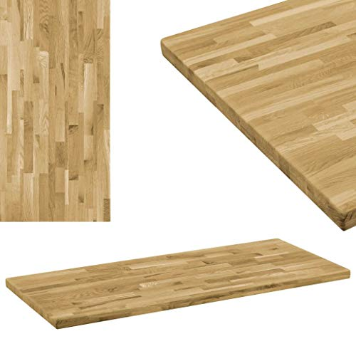 Festnight Tablero Mesa Rectangular Madera Maciza Roble