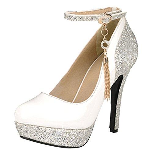 YE Damen Ankle Strap High Heels Lack Glitzer Plateau Pumps mit Riemchen und Stiletto 12cm Absatz Elegant Party Schuhe
