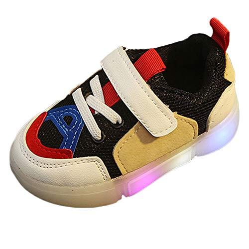 HDUFGJ Kinder LED Schuhe Leuchtend Laufschuhe Klettverschluss Atmungsaktiv Sneaker für Jungen Mädchen 27 EU(Weiß)