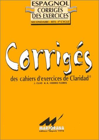 Claridad: corrigés des exercices de grammaire Espagnole