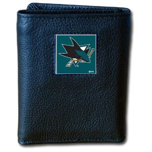 NHL San Jose Sharks Deluxe Leather Tri-Fold Wallet