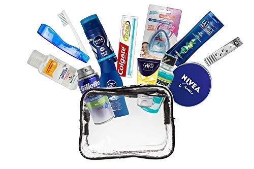 A2S Herren 13-teiliges Komfort-Reiseset, reiseset, Reise Wesentliches, Urlaubs- und Geschäftsreisen, bestehend aus Allen notwendigen Körperpflegeprodukten, in einem PVC-Kosmetikkoffer