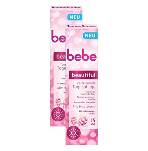 bebe beautiful Verfeinernde Tagespflege - Feuchtigkeitsspende Hautcreme mit LSF 15 und Moltebeeren-Extrakt - für alle Hauttypen - 2 x 50ml