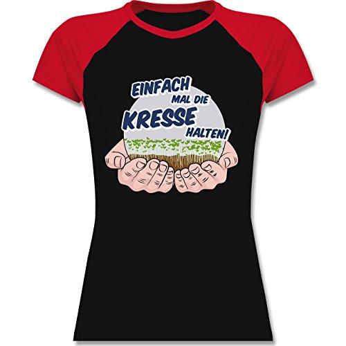 Shirtracer Sprüche - Einfach Mal Die Kresse Halten - Zweifarbiges Baseballshirt/Raglan T-Shirt für Damen Schwarz/Rot