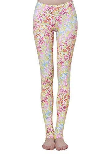 Schwimm Leggings Damen UV Schutz Schwimmhose Hose Bademode , Farbe-Rosa Mit Blumen - L