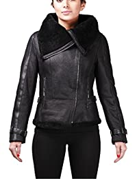 Women's Black Aviator Vintage Real Shearling Sheepskin Merino Wool Flying Leather Jacket