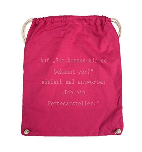 Comedy Bags - Sie kommen mir so bekannt vor? - Ich bin Pornodarsteller - Turnbeutel - 37x46cm - Farbe: Schwarz / Pink Pink / Rosa
