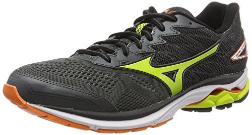 Mizuno Wave Rider, Zapatillas de Running para Hombre, Multicolor (Darkshadow/Limepunch/Vibrantorange), 42 EU
