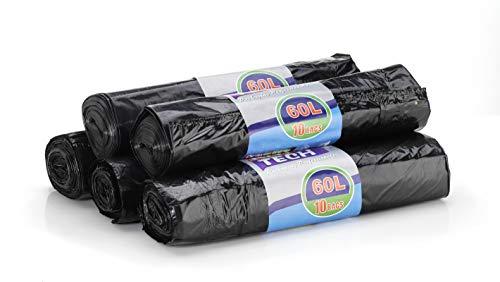50 sacchi per rifiuti / sacco per immondizia - 60 litri (apertura extra large) con cordoncino, portata massima 15 kg, confezione economica 5 x 10 St.