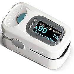 Etekcity PulsiOxímetro de Dedo y Monitor de Frecuencia Cardíaca con Pantalla OLED, Alarma y Función de Auto-Apagado, Funda, Baterías y Cuerda de Sujeción Incluidos, Blanco