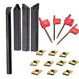 FinukGo 10 stücke DCMT0702 Hartmetalleinsatzklingen/4 Stücke SCLCR Bohrstange Werkzeughalter mit 4 stücke Schraubenschlüssel Für Drehwerkzeuge/Schwarz